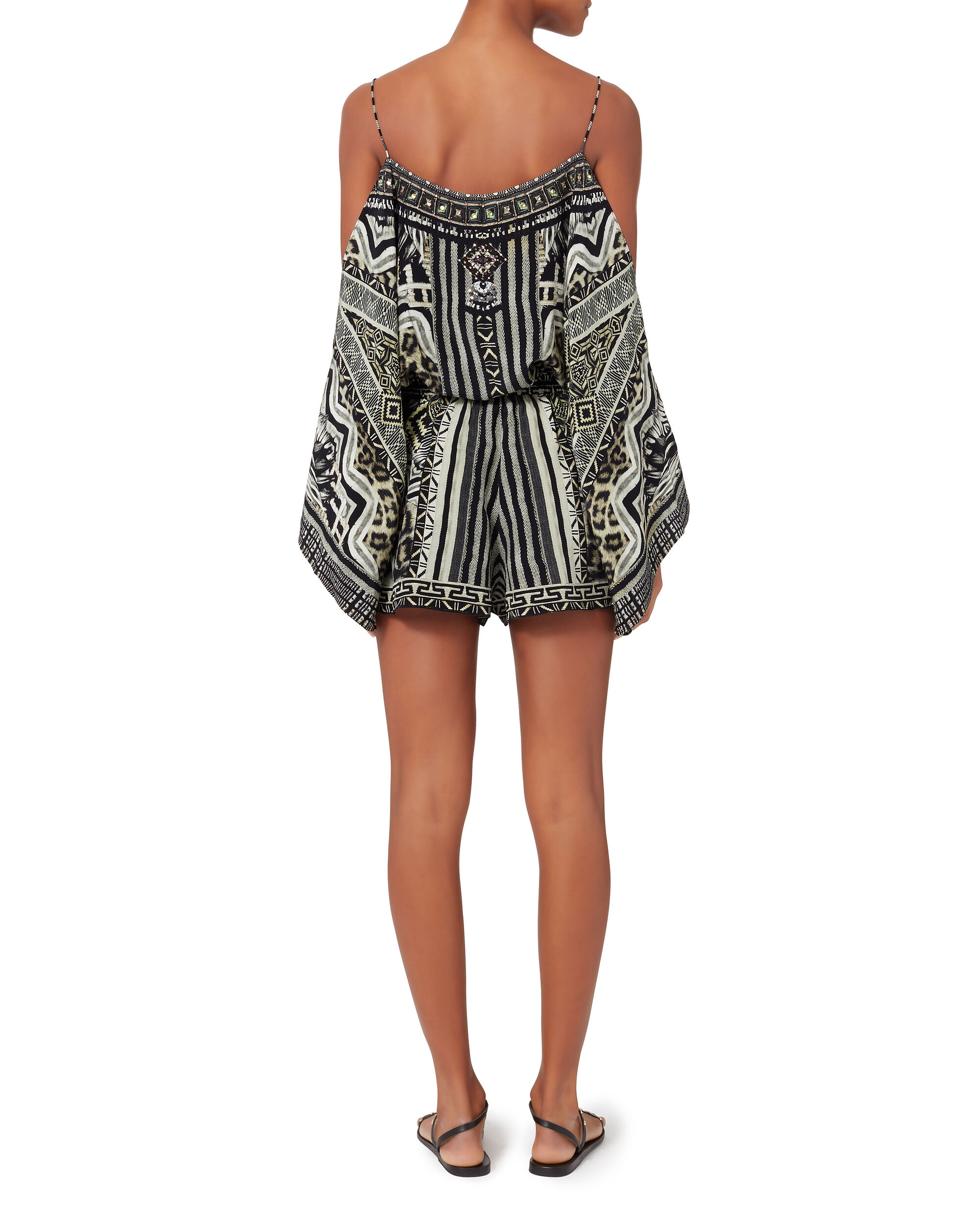 Tribal Theory Cold Shoulder Playsuit, PRI-ABSTRACT, hi-res