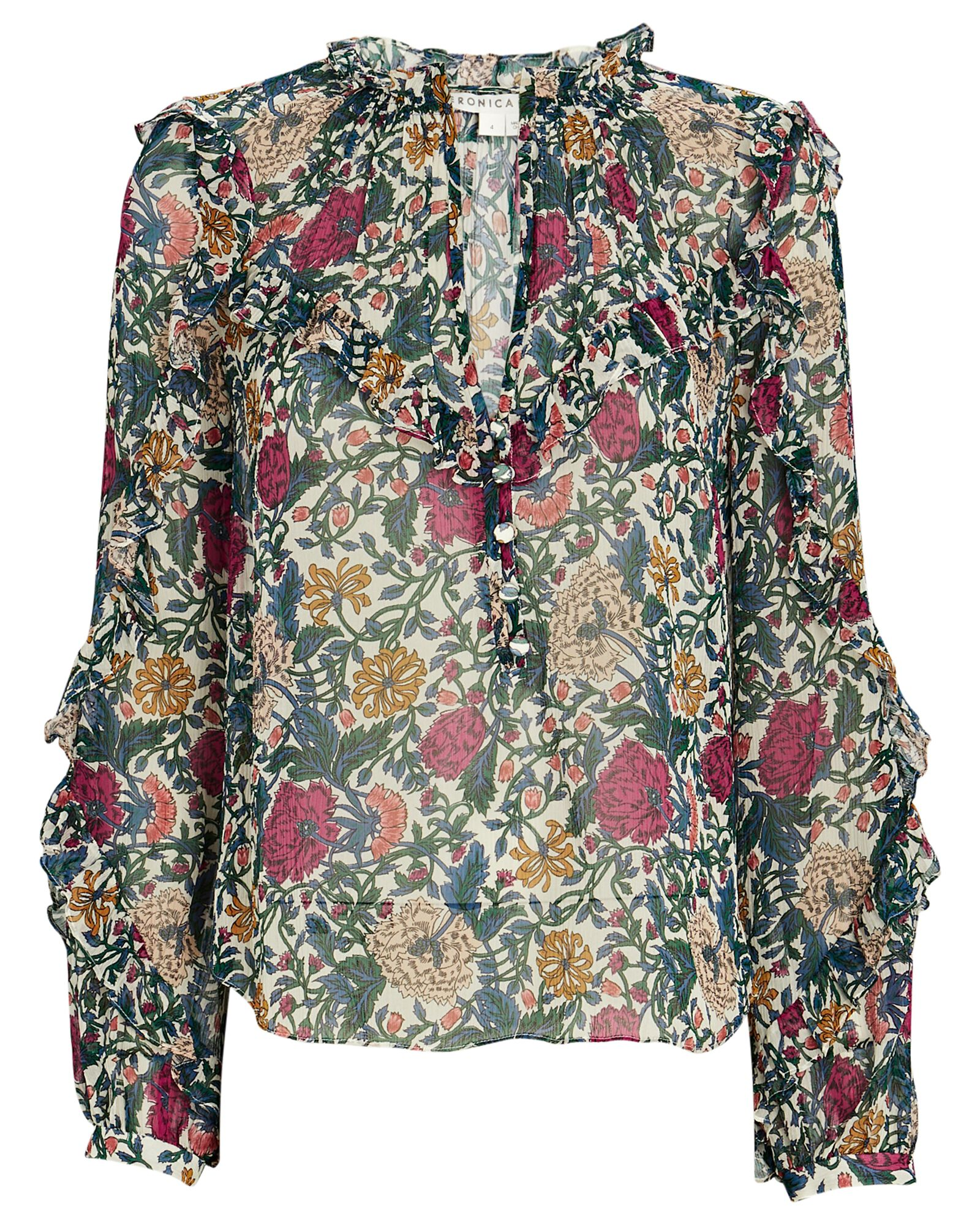 Abra Floral Chiffon Blouse, GREEN/RED, hi-res