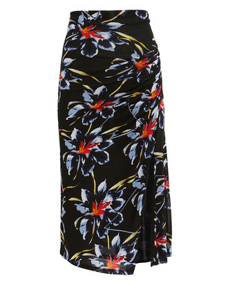 Side Cinched Midi Skirt, BLACK/FLORAL, hi-res