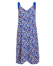 Zelda Floral Silk Dress, BLUE/FLORAL, hi-res