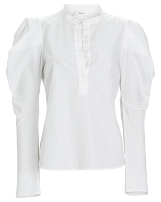 Hudson Poplin Puff Sleeve Top, WHITE, hi-res