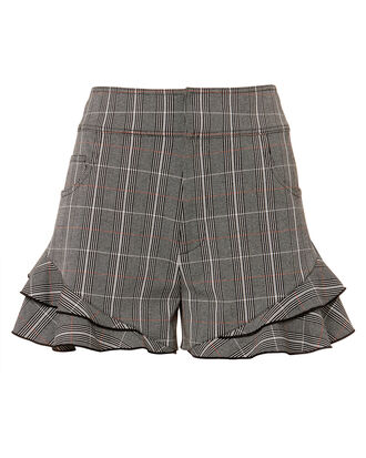 Plaid Ruffle Hem Shorts, GREY, hi-res