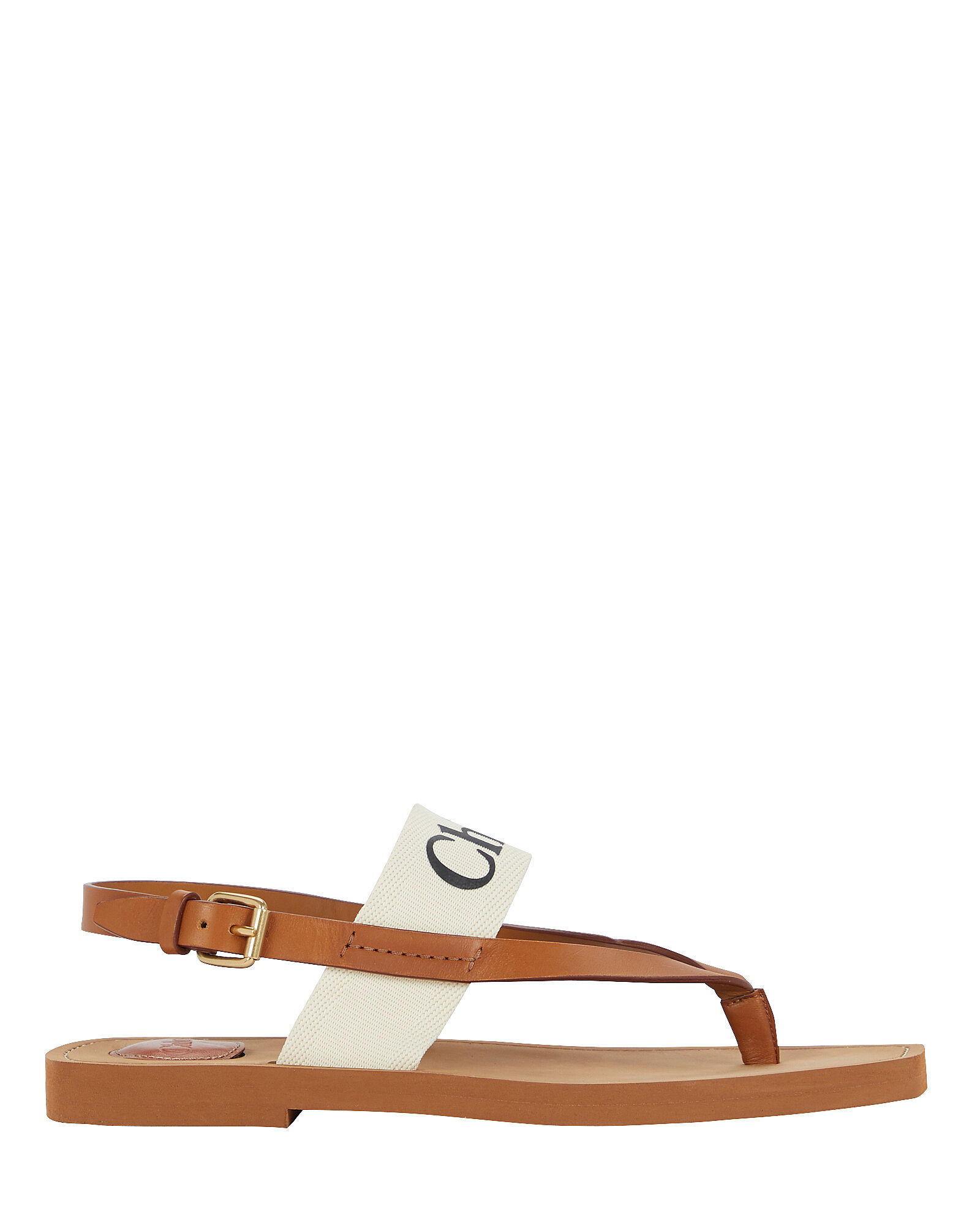 Woody Flat Leather Thong Sandals, BROWN, hi-res