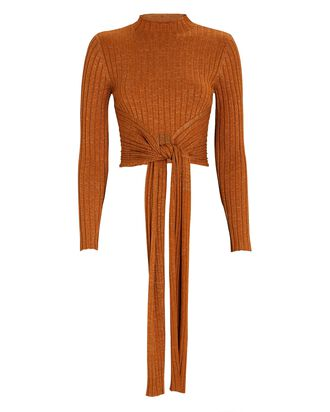Goldie Tie-Front Sweater, BROWN, hi-res