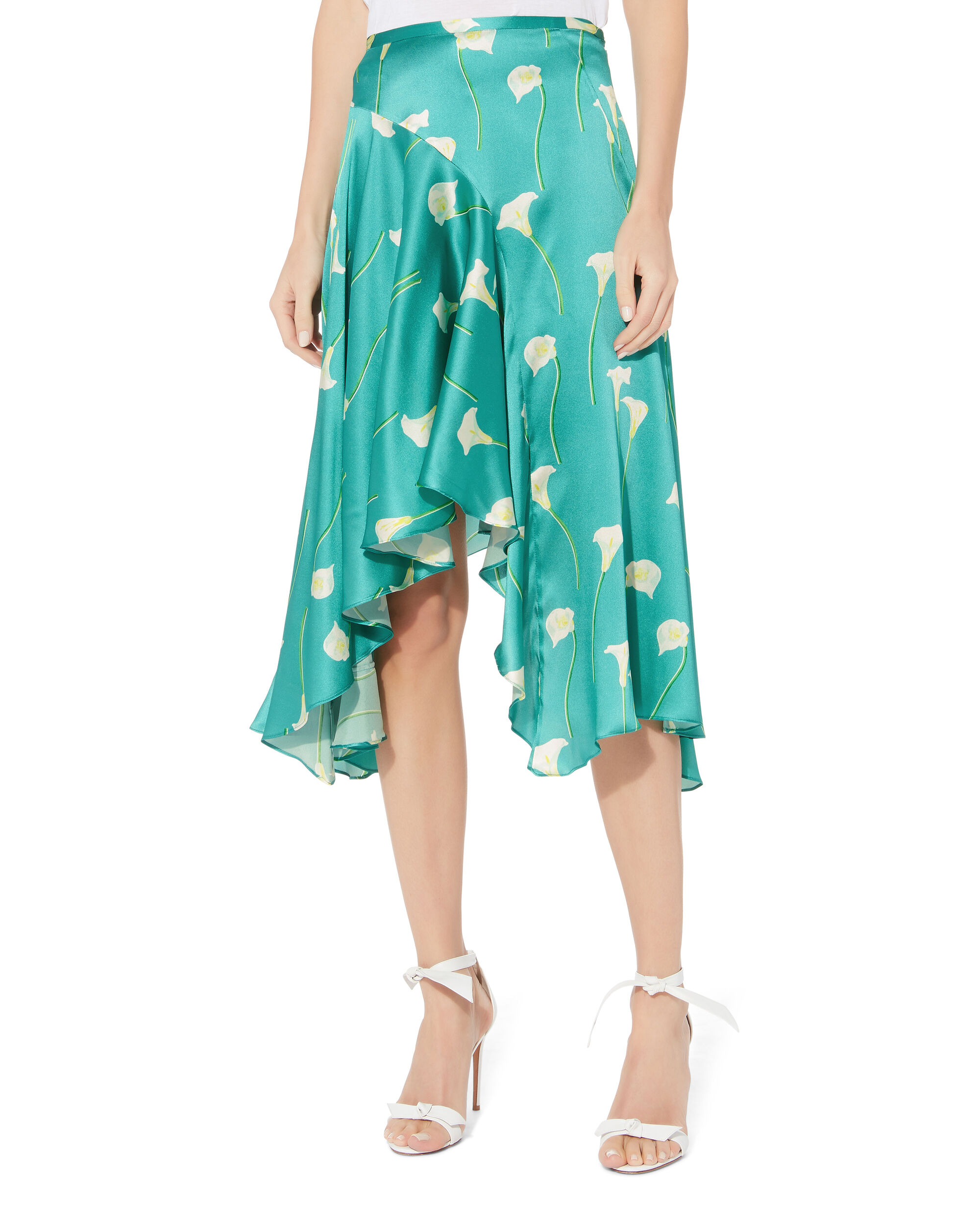 Calla Lilly Flounced Midi Skirt, TURQUOISE, hi-res