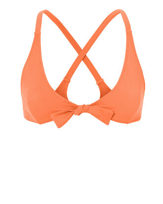 Fiona Tie Triangle Bikini Top, ORANGE, hi-res
