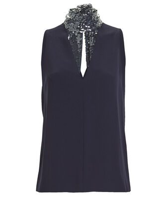 Cortado Sequin Tie-Neck Top, NAVY, hi-res