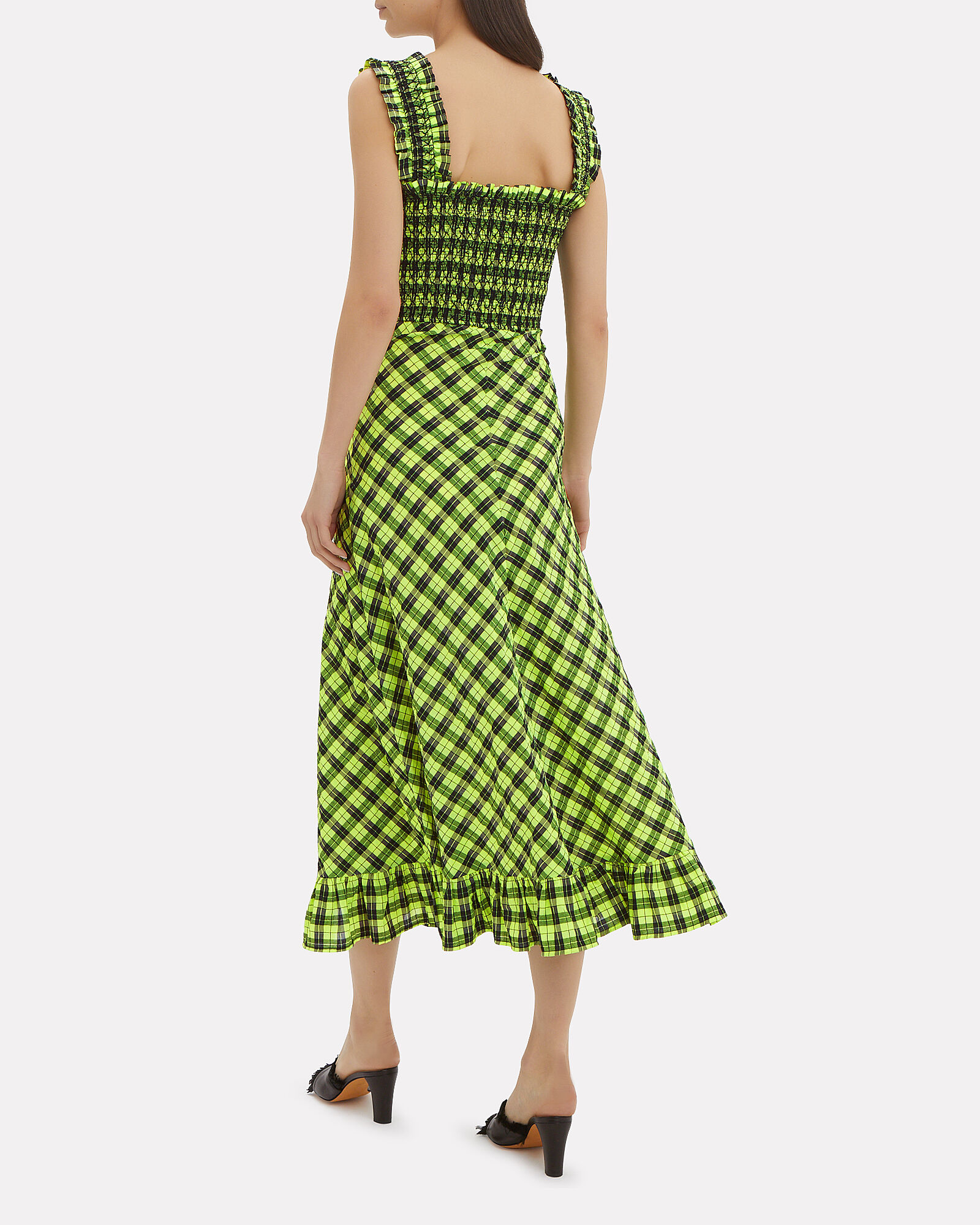 Smocked Gingham Dress, GREEN, hi-res