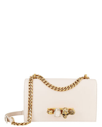 Jewel Knuckle Ivory Chain Strap Shoulder Bag, WHITE, hi-res