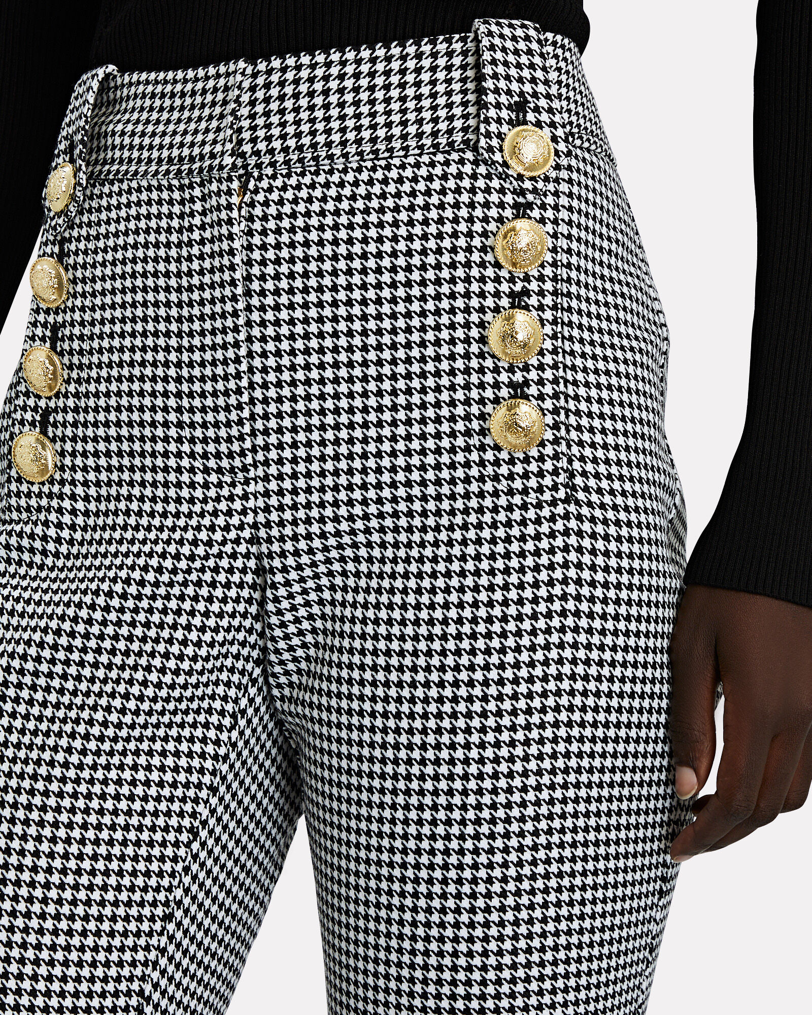 Corinna Houndstooth Sailor Pants, BLK/WHT, hi-res