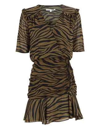 Dakota Ruched Zebra Print Dress, OLIVE/BLACK, hi-res