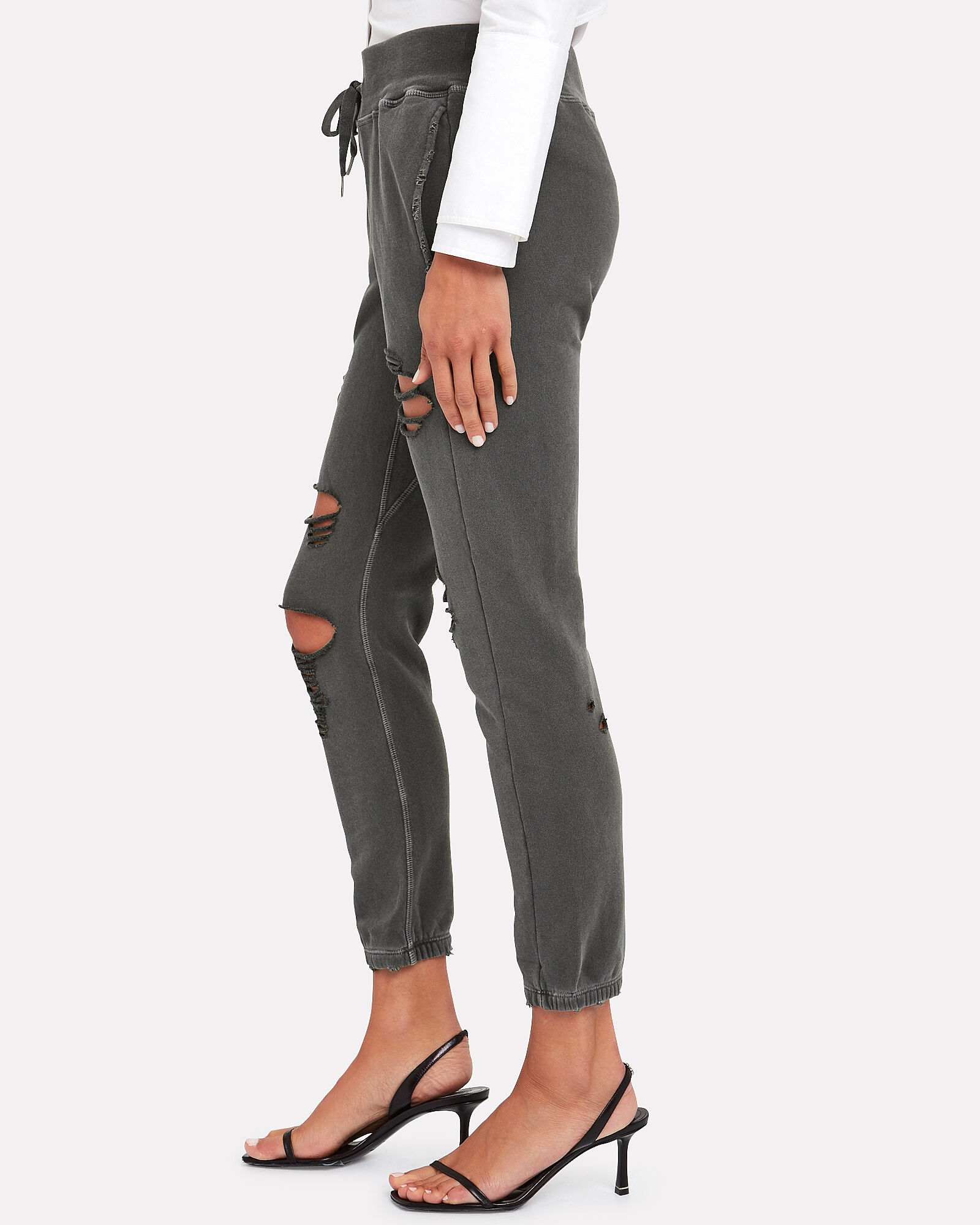 Sayde Distressed French Terry Sweatpants, GREY, hi-res