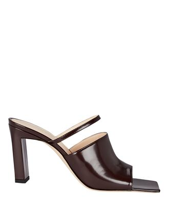 Nana Patent Leather Mule Sandals, RED-DRK, hi-res