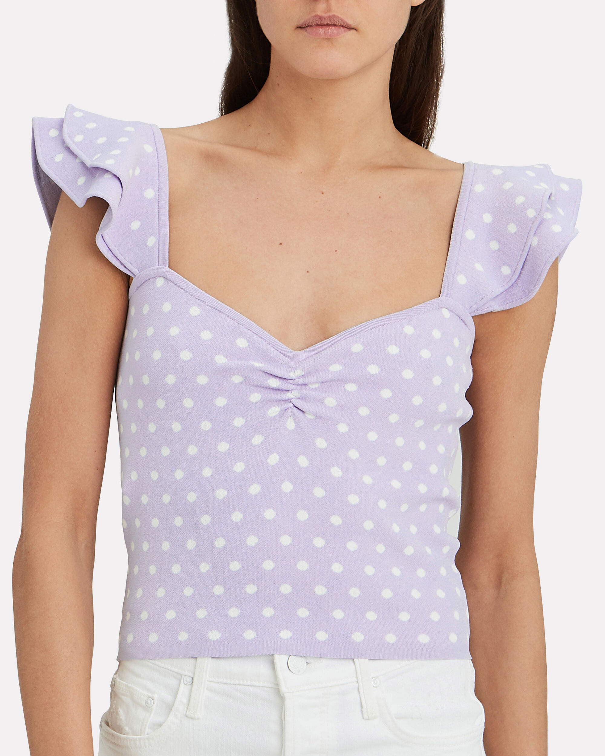 Natasha Polka Dot Ruffle Top, PURPLE/WHITE, hi-res