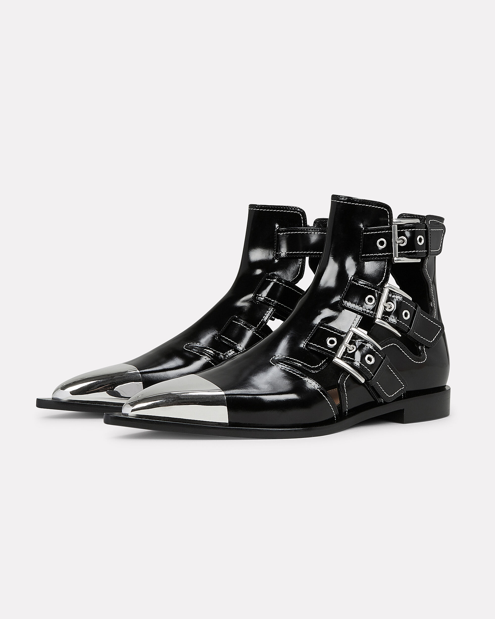Cutout Leather Boots, BLACK, hi-res