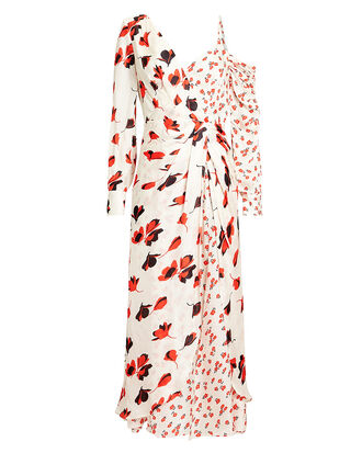 Floral Asymmetric Dress, FLORAL/IVORY, hi-res