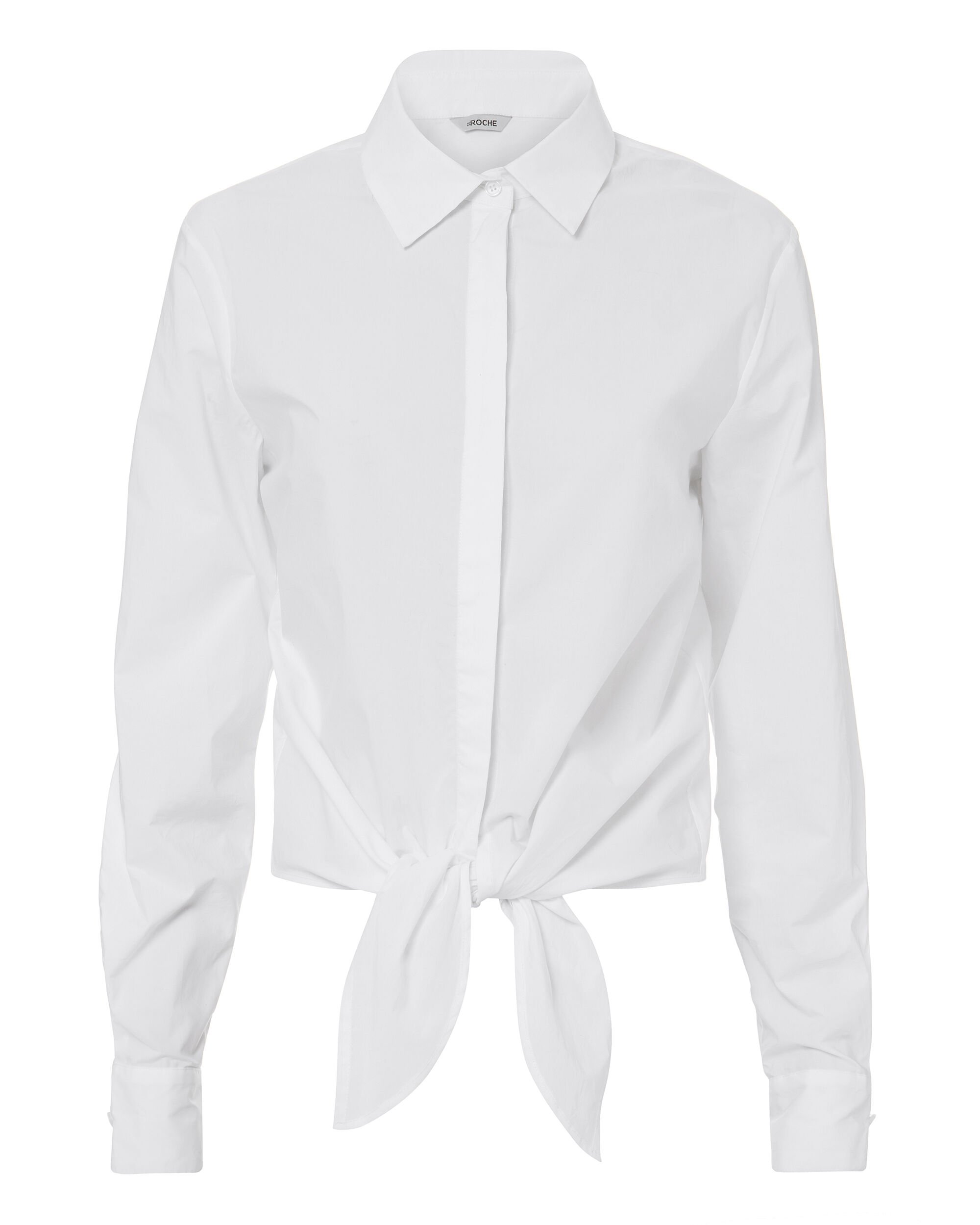 Tie Front Blouse, WHITE, hi-res