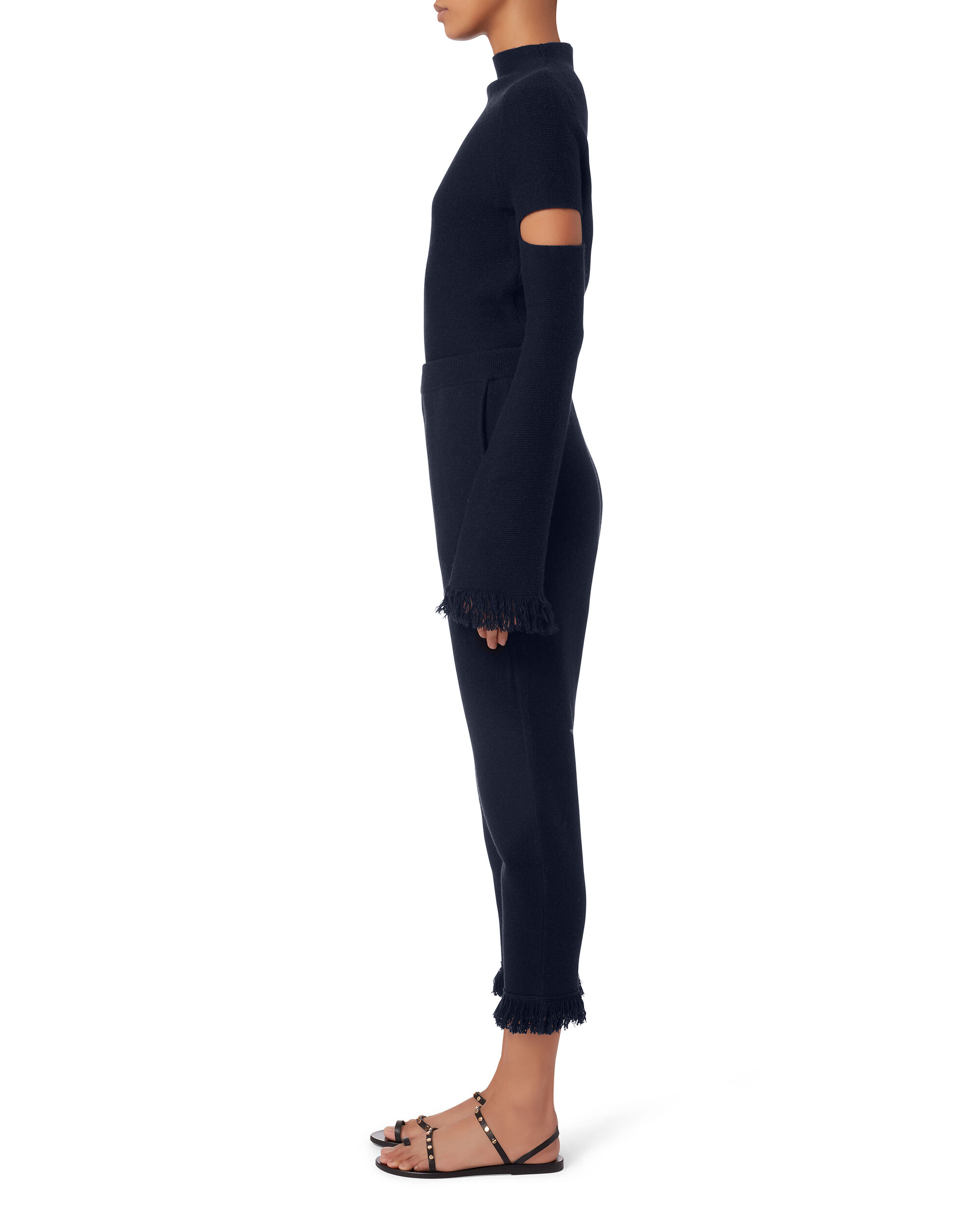 Haxel Cropped Trousers, BLACK, hi-res