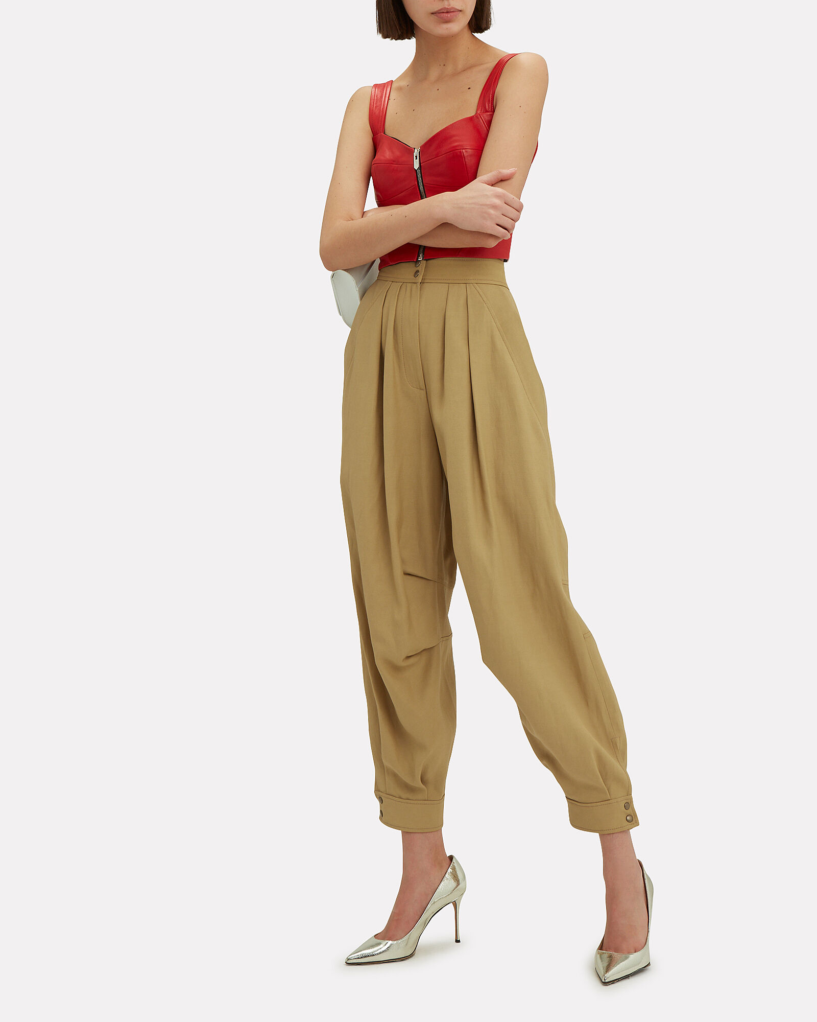 Pleated Balloon Pants, BEIGE, hi-res