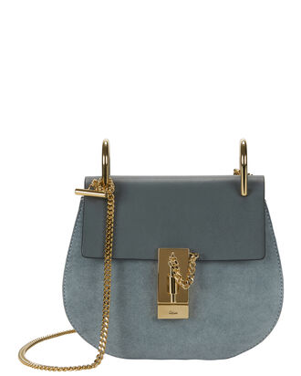 Drew Blue Suede and Leather Saddle Bag, BLUE, hi-res