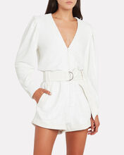 Ballolo Leather-Trimmed Sequin Romper, IVORY, hi-res