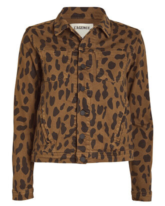 Celine Spotted Denim Jacket, CAMEL/SPOTS, hi-res