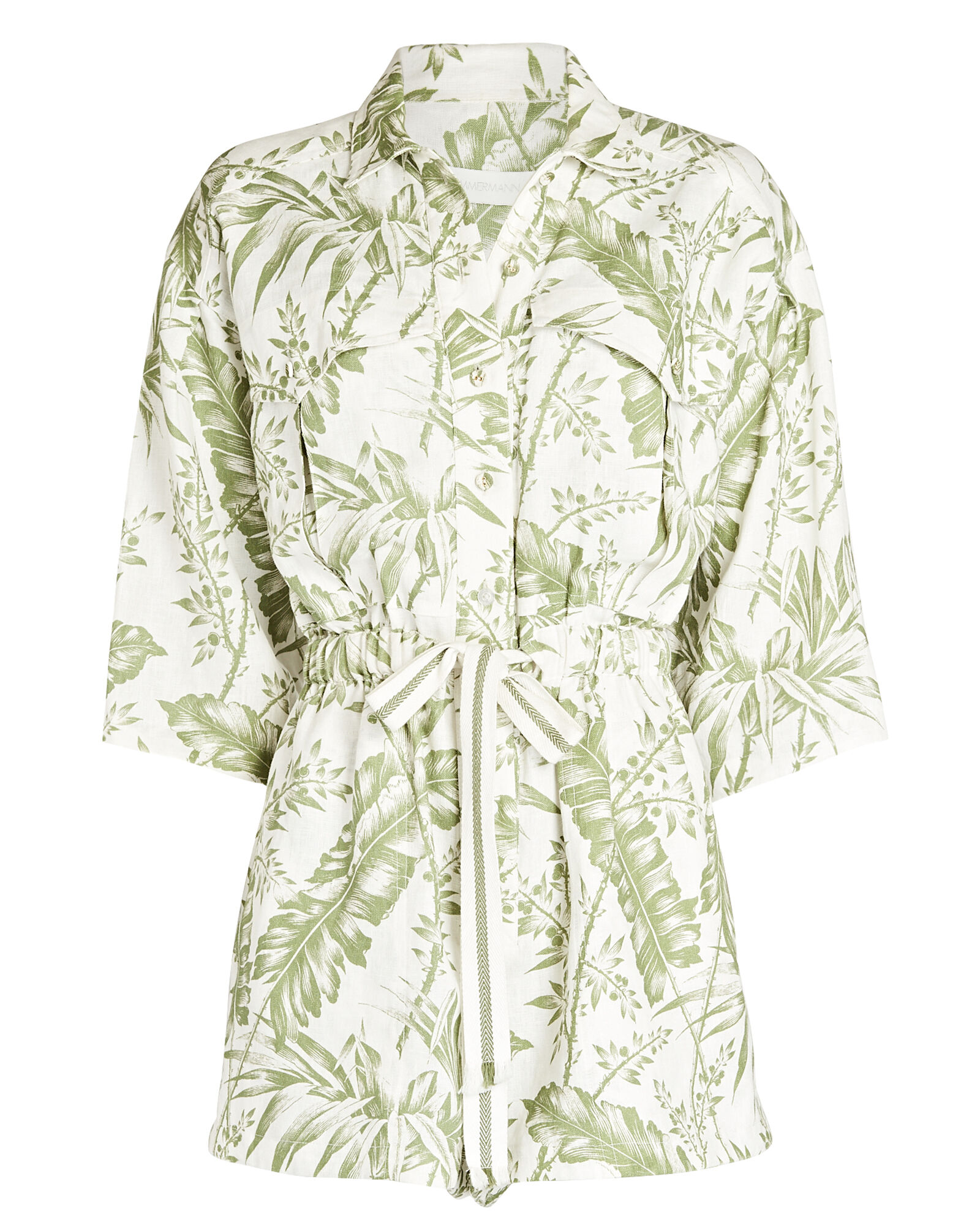 Empire Printed Tie-Waist Playsuit, WHITE/GREEN, hi-res