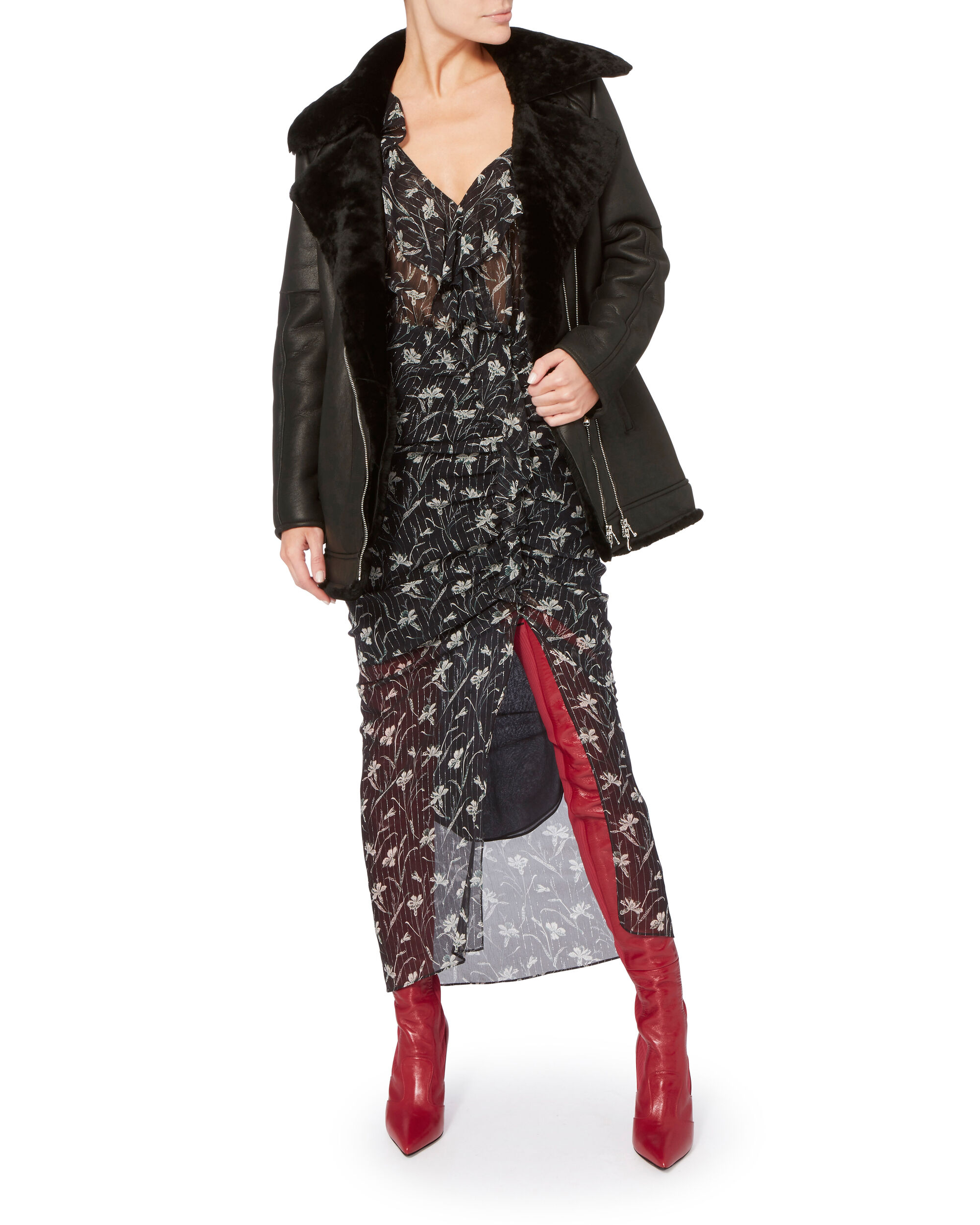 Rockoko Red Leather Over-The-Knee Boots, RED, hi-res