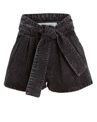 Ober Denim Paperbag Shorts, BLACK, hi-res