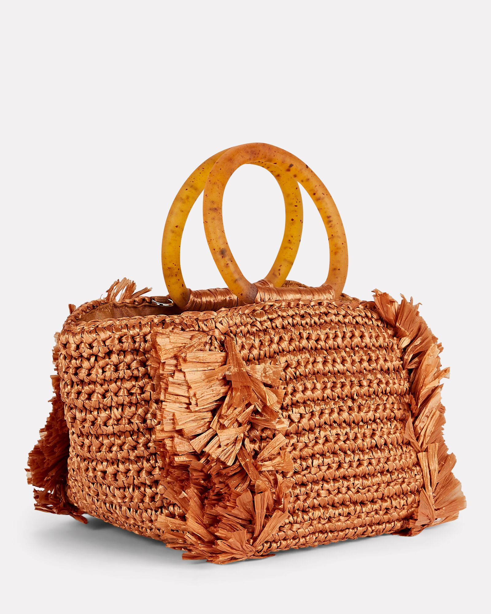 Corallina Fringed Straw Tote, BROWN, hi-res