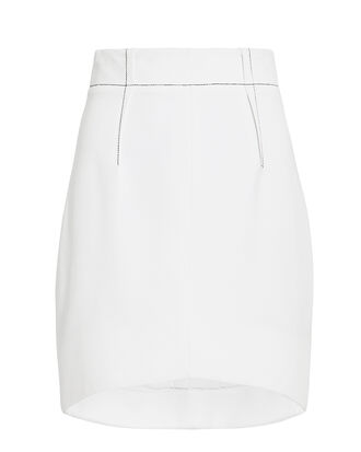 Curved Hem Mini Skirt, WHITE, hi-res