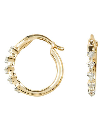 5 Diamond Huggie Hoops, GOLD, hi-res