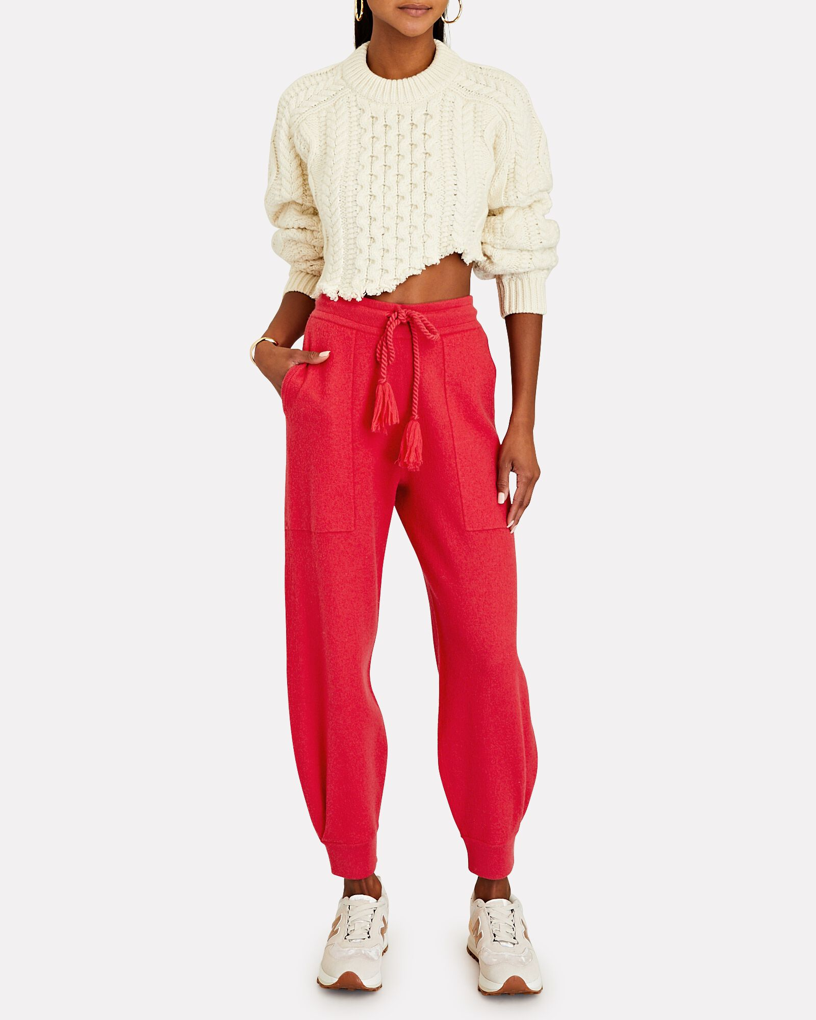 Alfie Boiled Knit Wool Joggers, PINK, hi-res