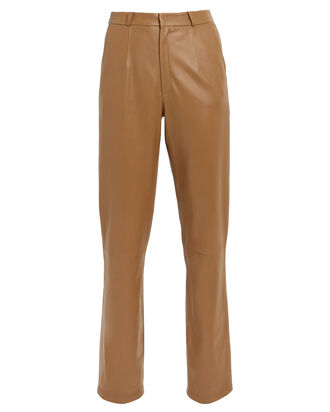 Leather Cigarette Pants, BROWN, hi-res