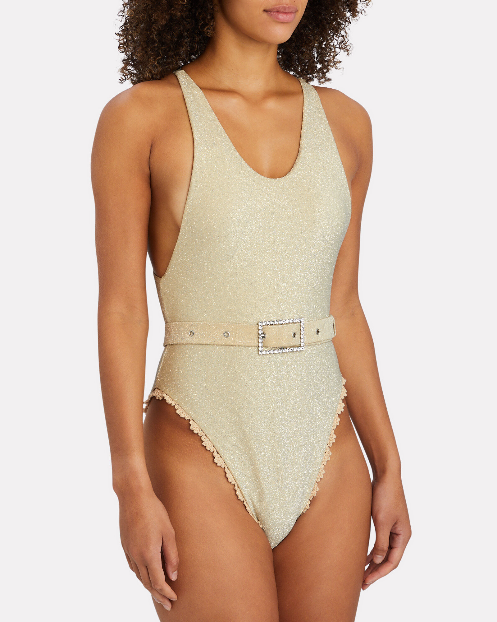 Gia Belted Lurex One-Piece Swimsuit, GOLD, hi-res