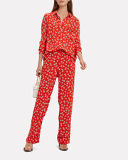 Silvery Crepe Big Apple Red Trousers, RED, hi-res