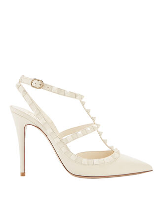 Rockstud Cage White Pumps, WHITE, hi-res