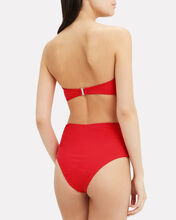 Tie Belt High Waist Bikini Bottom, RED, hi-res