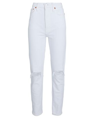 90s High-Rise Ankle Crop Jeans, WHITE DESTROYED, hi-res
