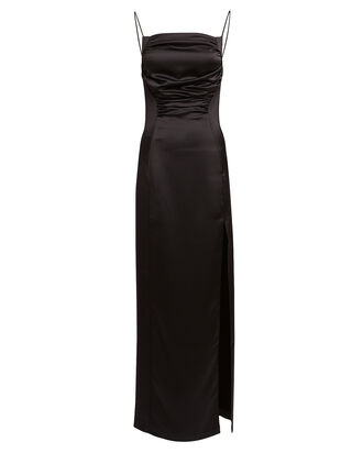 Ruched Satin Gown, BLACK, hi-res
