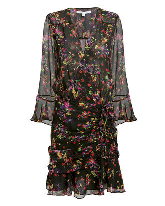 Sean Mini Wrap Dress, BLACK/FLORAL, hi-res