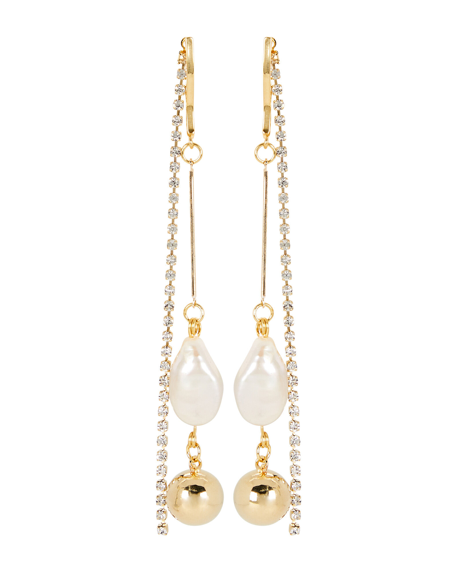 White Cap Pearl Linear Earrings, GOLD, hi-res