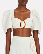 Puff Sleeve Crepe Crop Top, WHITE, hi-res