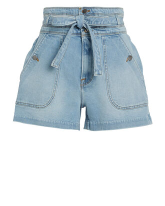 Triple Tie Waist Denim Shorts, LIGHT WASH DENIM, hi-res