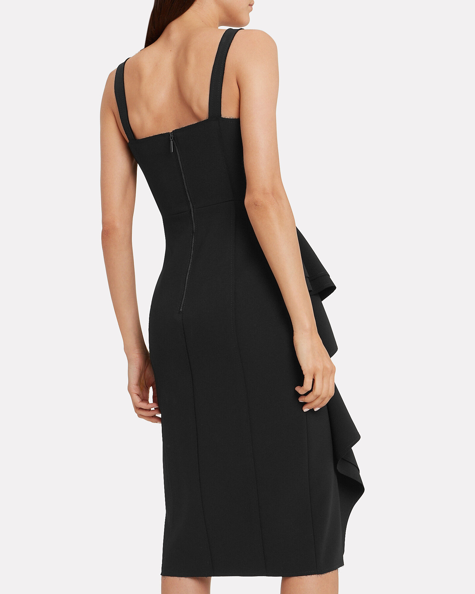 Crepe Ruffle Sleeveless Dress, BLACK, hi-res