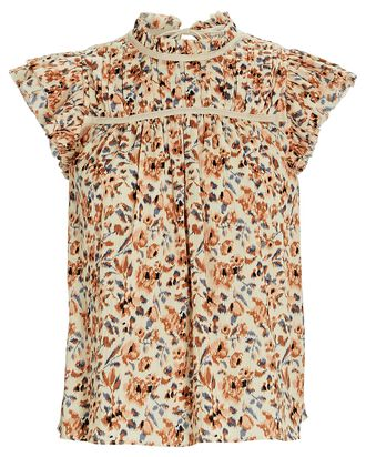 Etta Ikat Floral Sleeveless Top, CREAM/ORANGE, hi-res