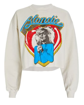 Cropped Blondie Sweatshirt, WHITE, hi-res