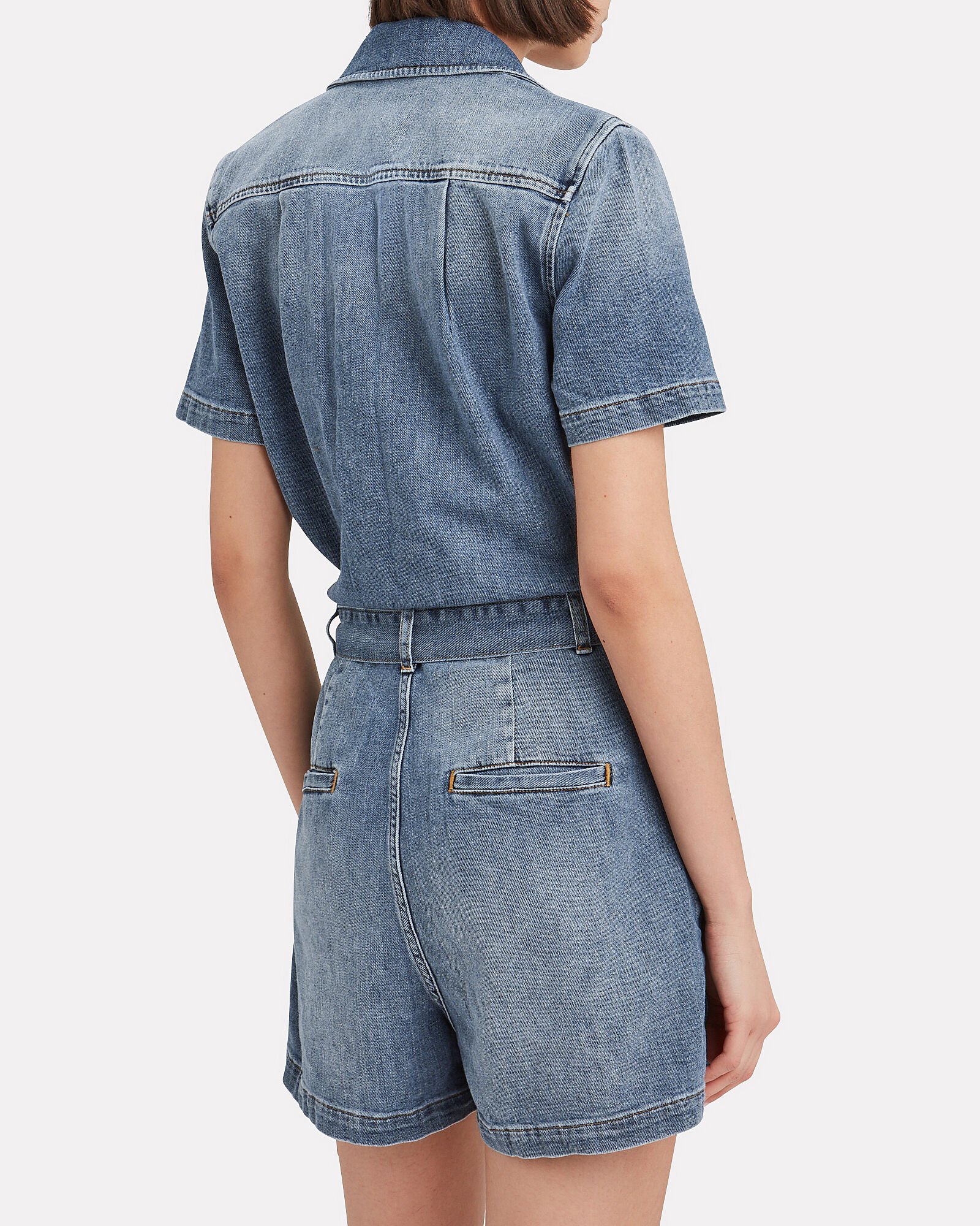 Belted Denim Romper, DENIM, hi-res