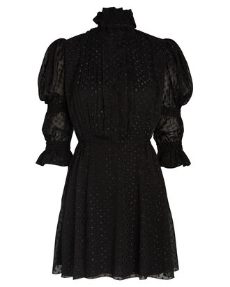 Swiss Dot Puff Sleeve Dress, BLACK, hi-res
