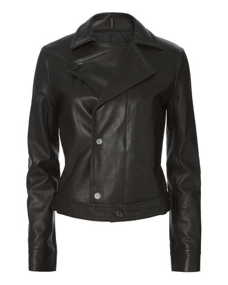 Tie Leather Jacket, BLACK, hi-res